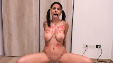 Cumslut Ready With Her Tongue Out